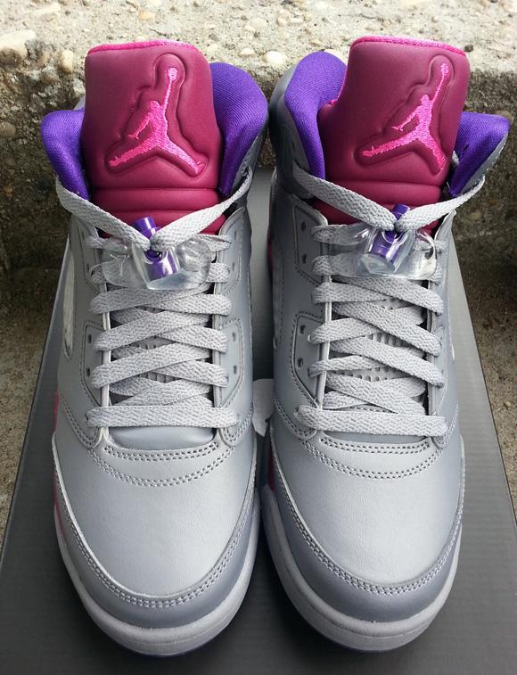 Girls Air Jordan 5 Retro Grey/ Pink