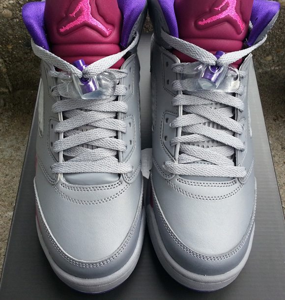 Girls Air Jordan 5 Retro Grey Pink