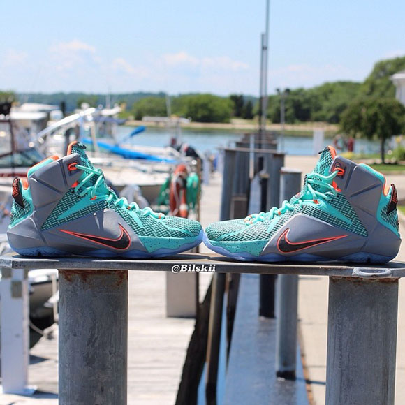 Nike LeBron 12 Turquoise Grey Crimson - Black - Another Look + Release Info 2