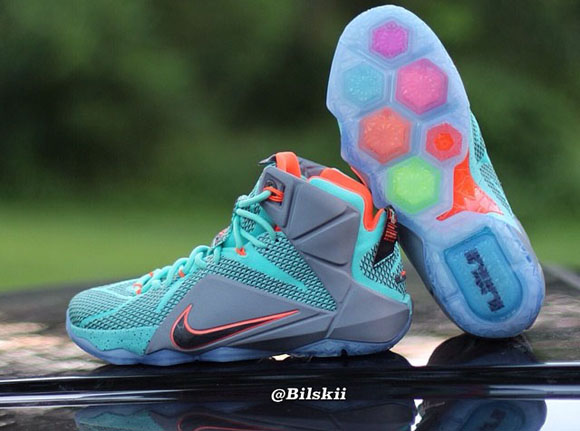 Nike LeBron 12 Turquoise Grey Crimson - Black - Another Look + Release Info 4