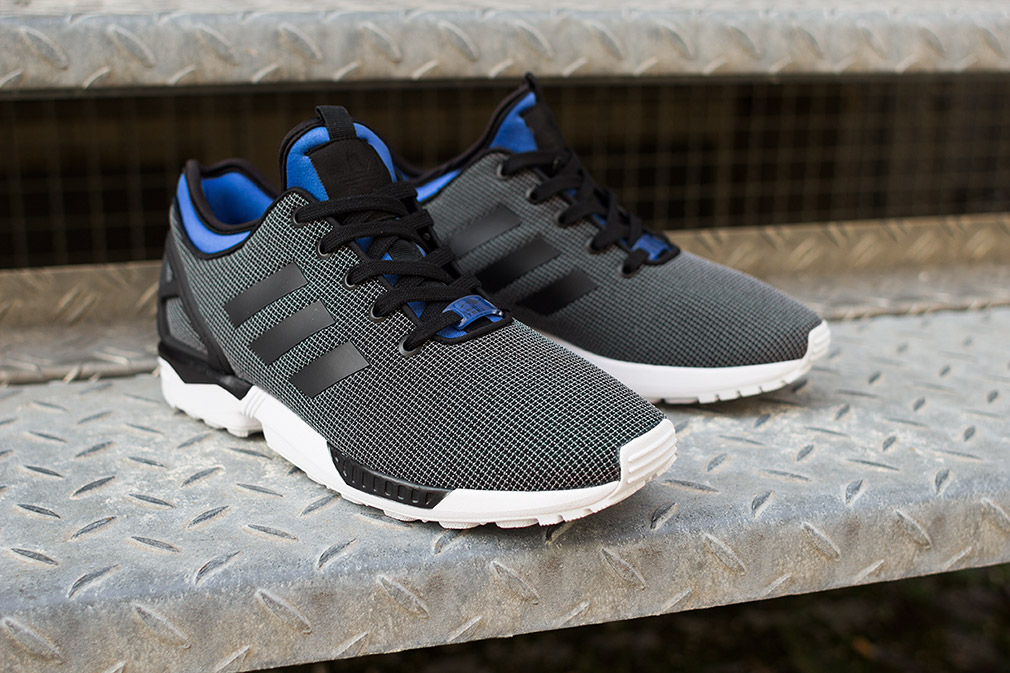 shoes, adidas zx flux, high top sneakers, black, blue