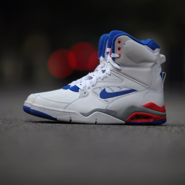Nike Air Command Force White: Lion Blue- Bright Crimson