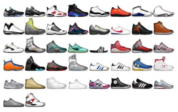 A sample of the 84 shoemojis on the Foot Locker app
