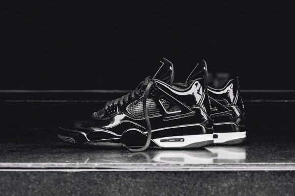 On-Feet Images of the Air Jordan 11Lab4 Retro Black: White lateral side