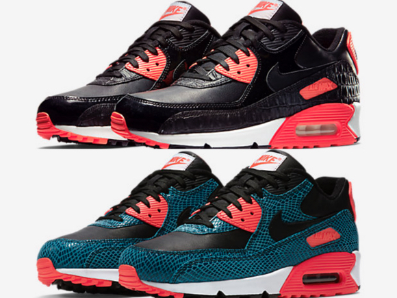 nike air max 90 black croc infrared dusty cactus