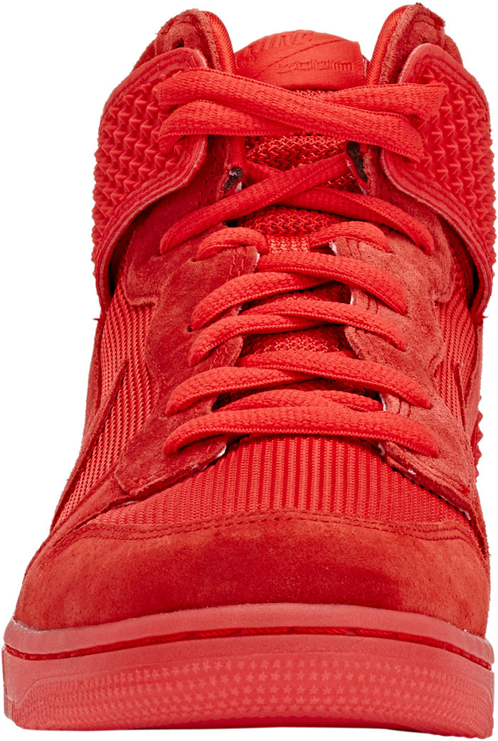 nike dunk high red october front view