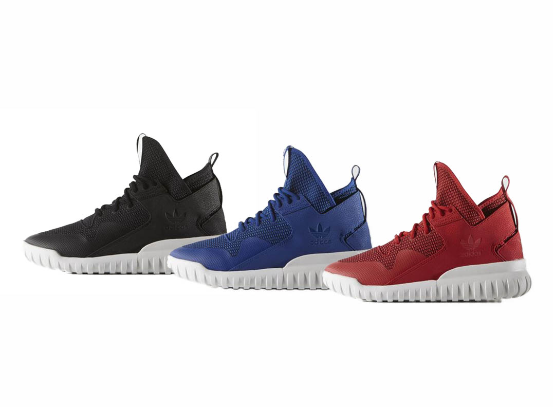 adidas Tubular X black blue and red three colorways