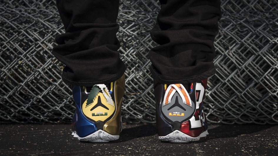 Nike LeBron 12 'What The' on feet heel