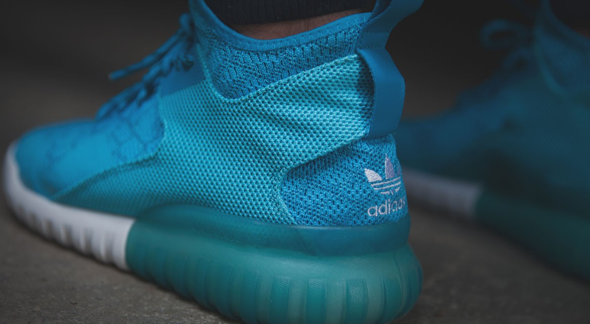 adidas Tubular X Primeknit 'Cyan' on feet