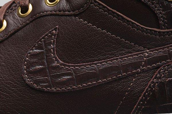 Air Jordan 1 Pinnacle 'Baroque Brown' up close swoosh
