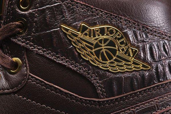 Air Jordan 1 Pinnacle 'Baroque Brown' up close wings logo