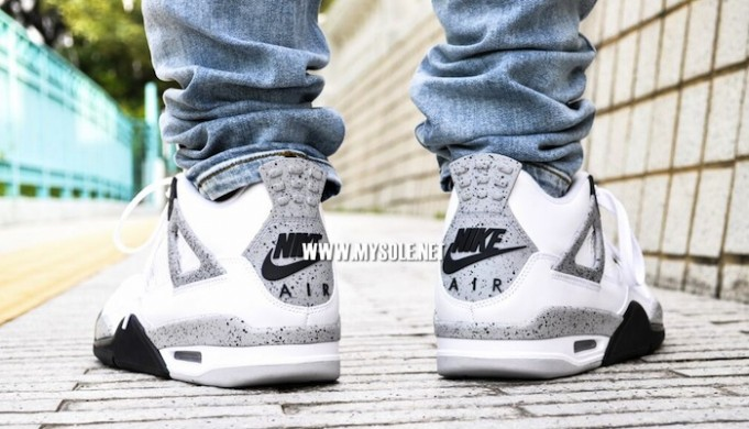 Air Jordan 4 Retro 'White Cement' on feet nike air