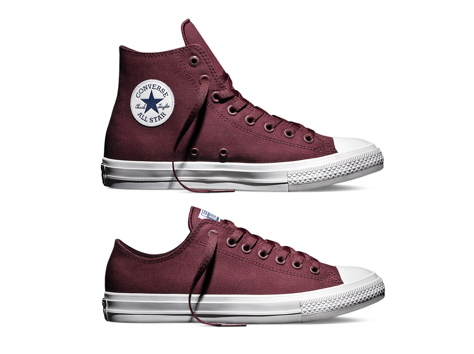 Converse Chuck Taylor All Star II 'Bordeaux' low and high