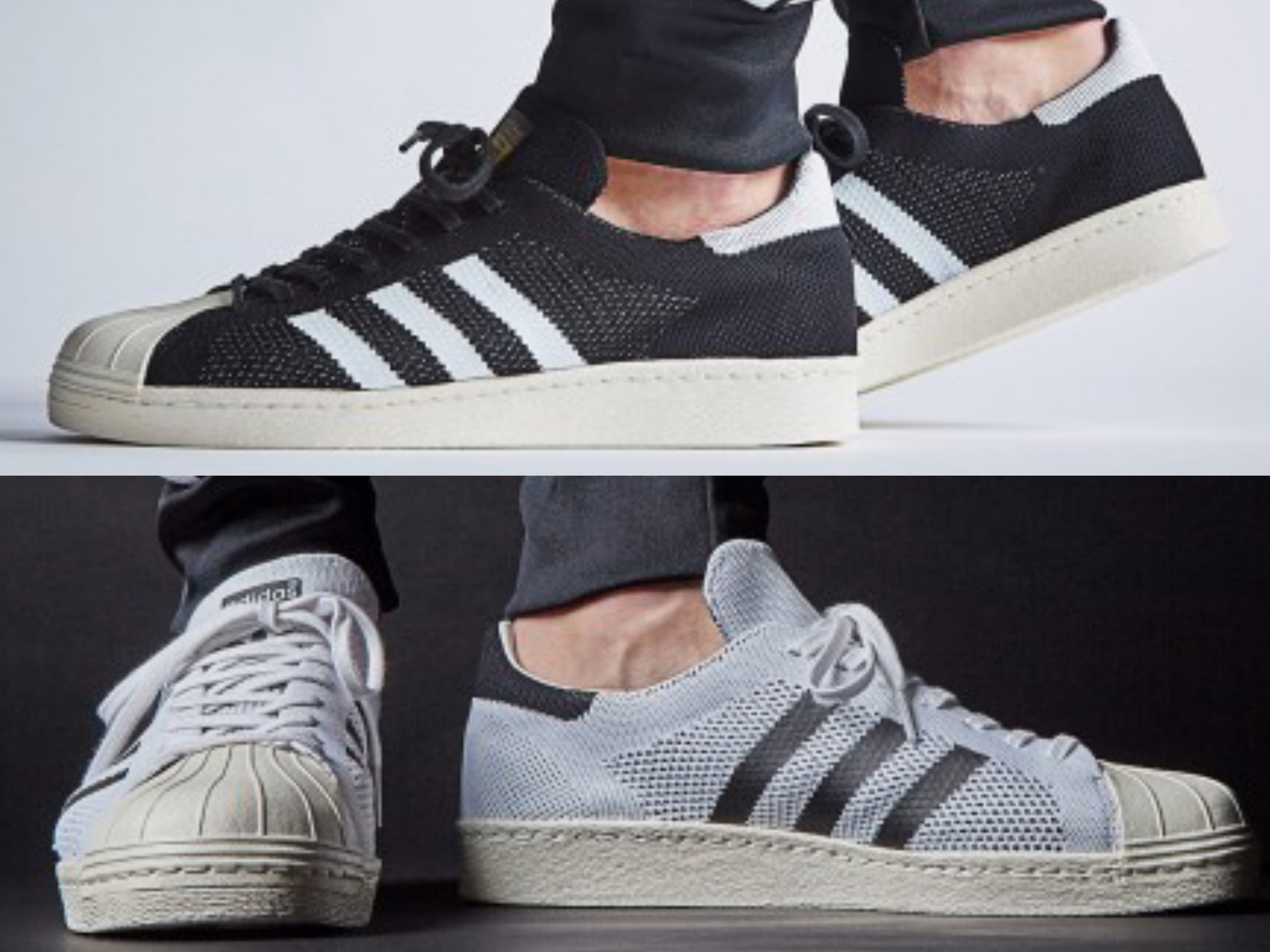 adidas superstar 80s primeknit black and white