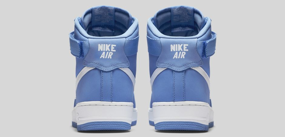 Nike Air Force 1 High 'Carolina Suede' heel