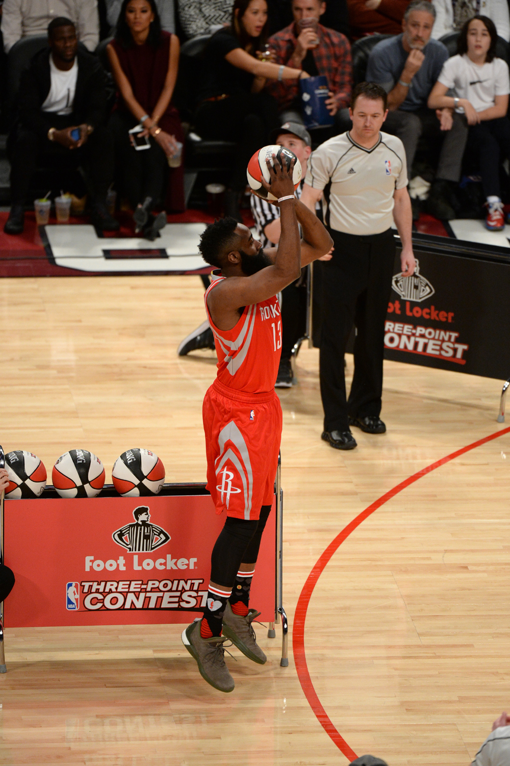 TORONTO, CANADA - FEBRUARY 13: James Harden #13 of the Houston Rockets shoots during the Foot Locker Three-Point Contest as part of 2016 NBA All-Star Weekend on February 13, 2016 at the Air Canada Centre in Toronto, Ontario, Canada. NOTE TO USER: User expressly acknowledges and agrees that, by downloading and or using this Photograph, user is consenting to the terms and conditions of the Getty Images License Agreement. Mandatory Copyright Notice: Copyright 2016 NBAE (Photo by Garrett Ellwood/NBAE via Getty Images)