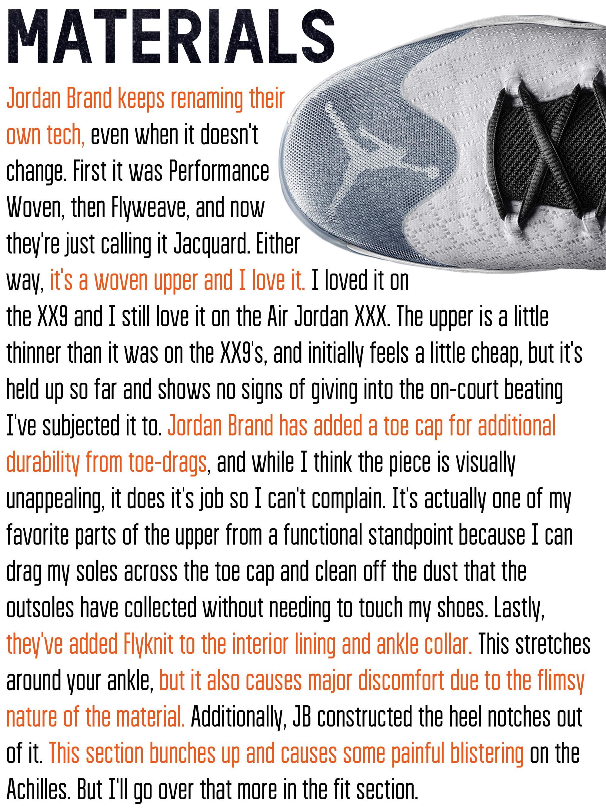 Air Jordan XXX Materials
