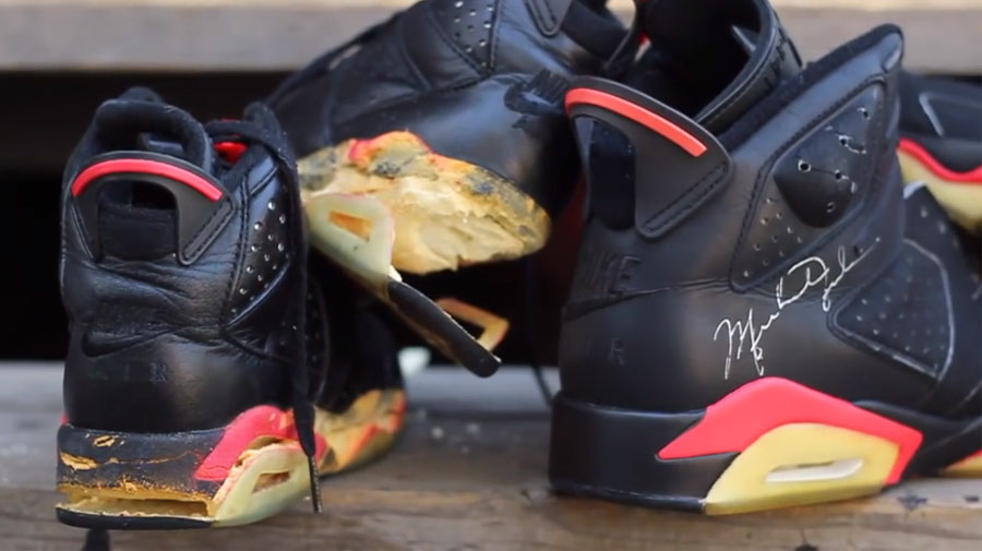 A Pair of 1991 Game Worn and Dual Signed Black Infrared Air Jordan 6's Get a Full Restoration