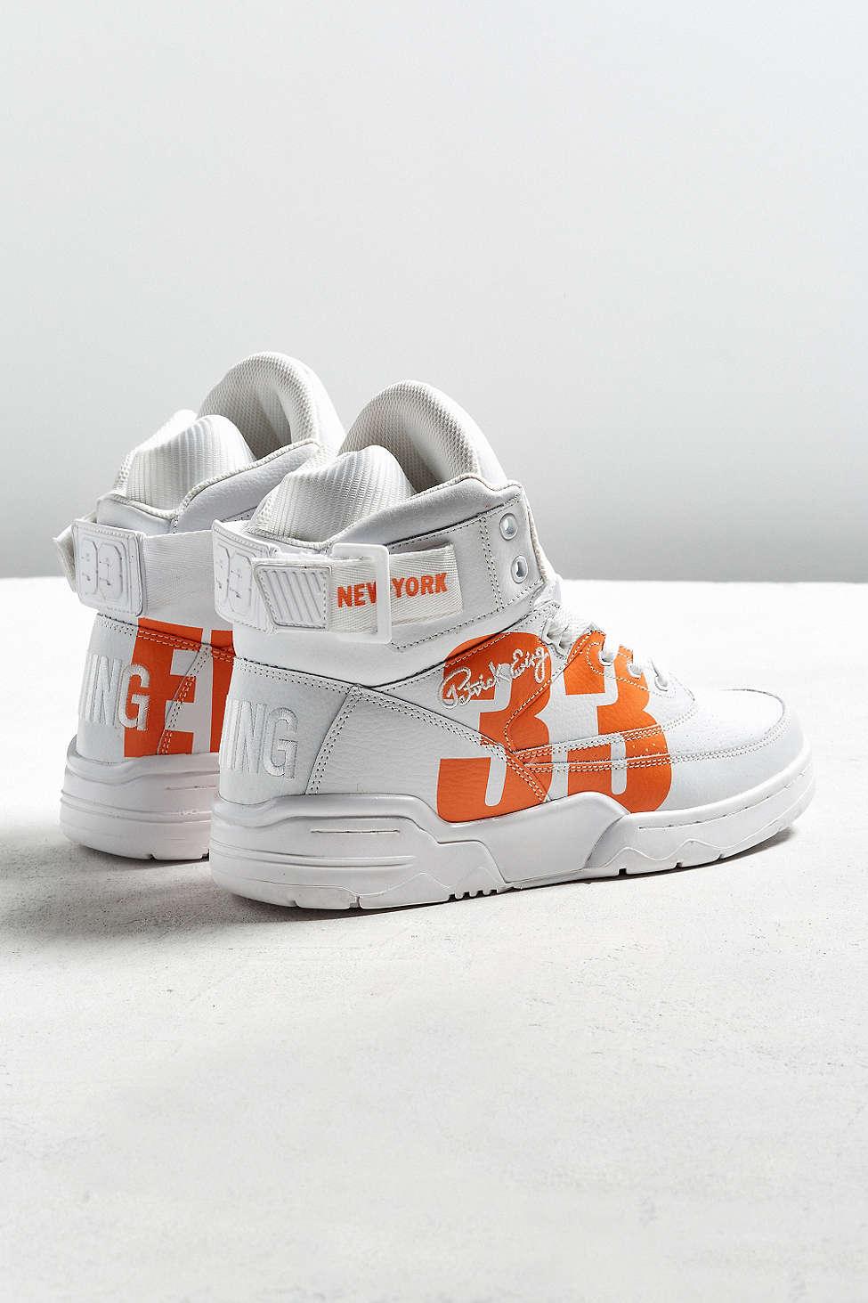 urban outfitters x ewing 33 hi NYC white orange 1