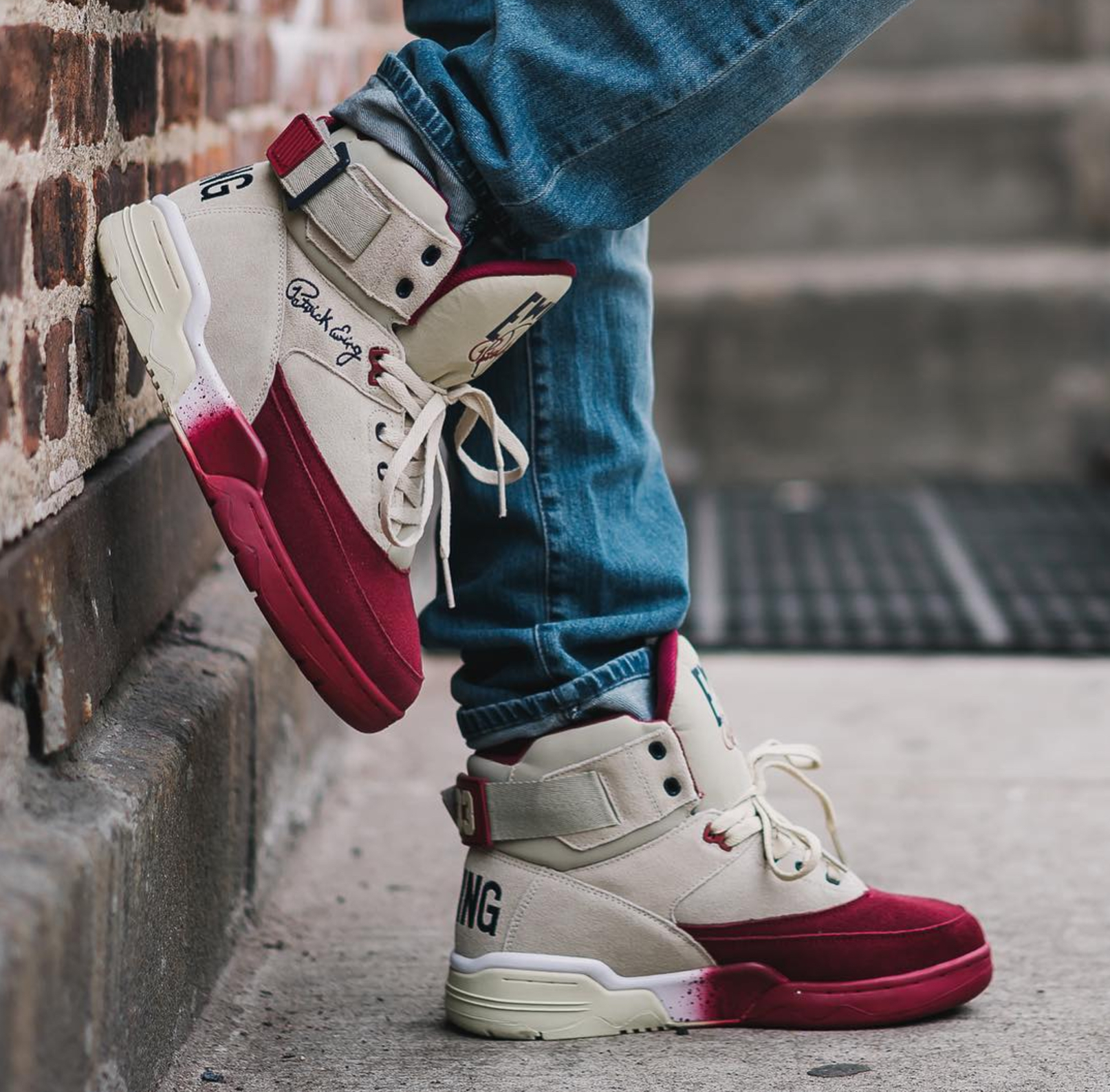 ewing 33 hi cream suede burgundy toe may retro collection 3