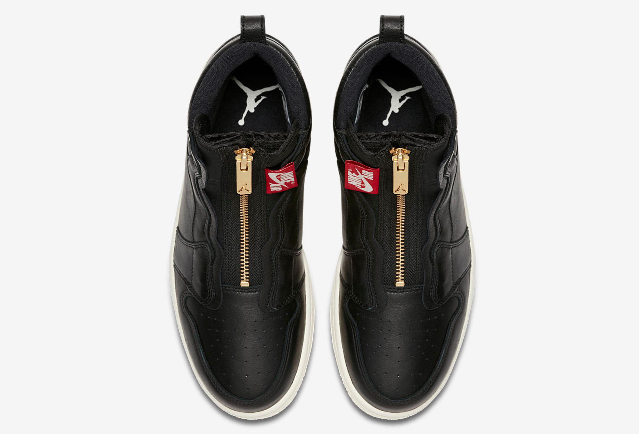 womens air jordan 1 high zip black 3
