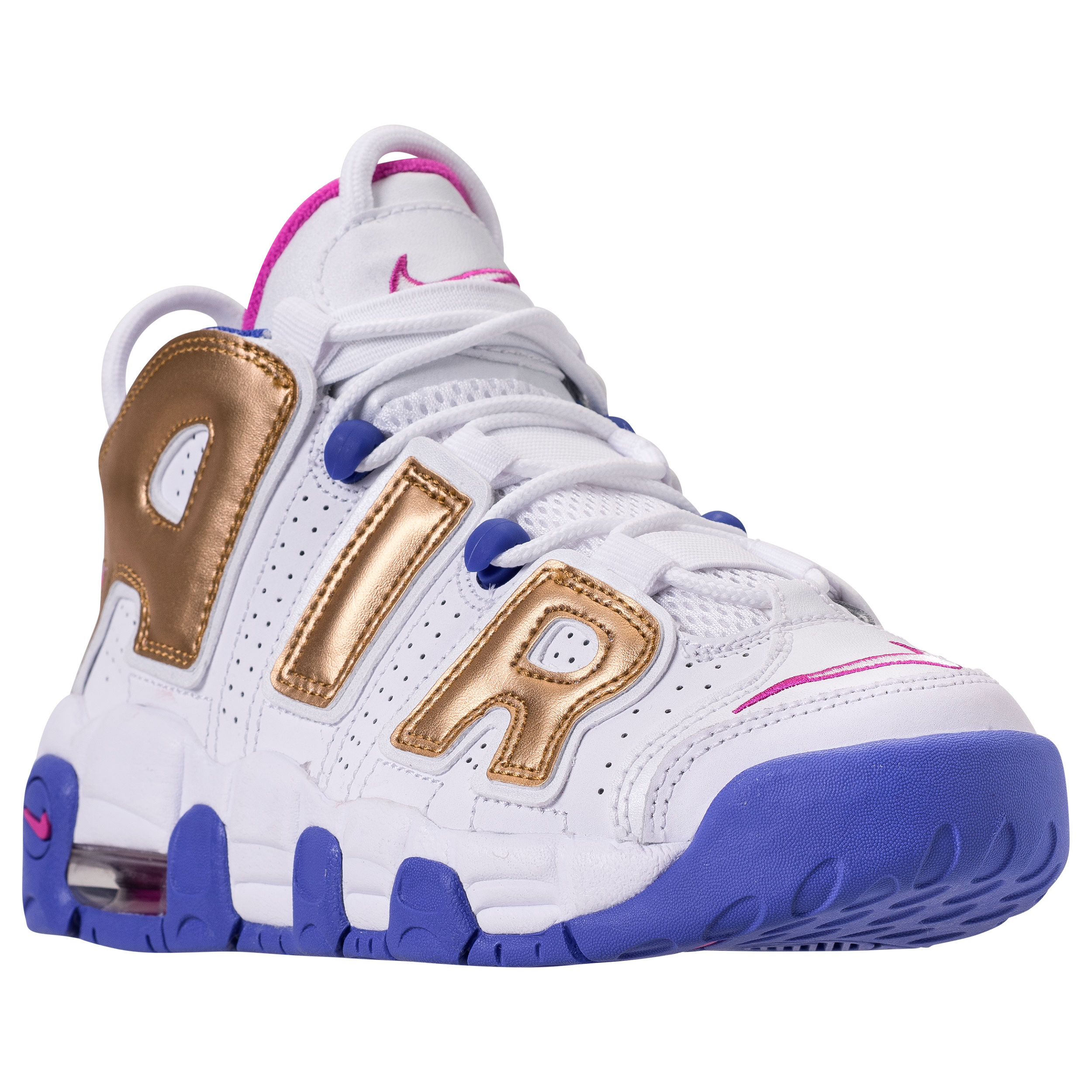 NIKE AIR MORE UPTEMPO GS WHITE:FUSCIA BLAST:METALLIC GOLD:RACER BLUE 1