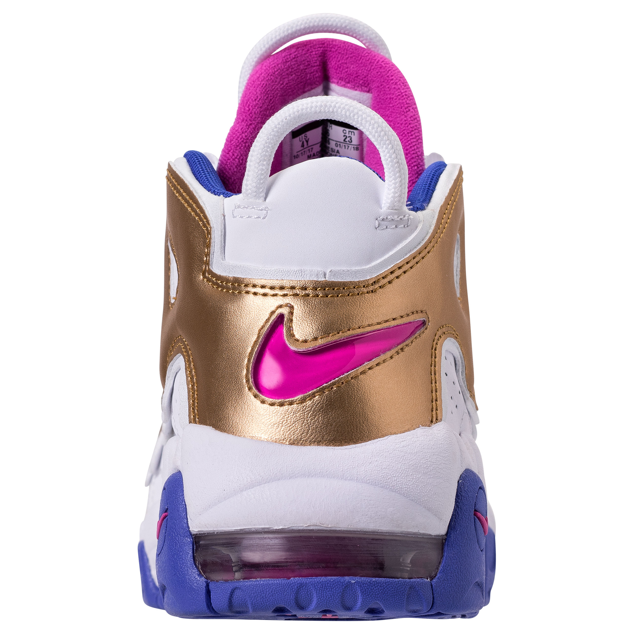 NIKE AIR MORE UPTEMPO GS WHITE:FUSCIA BLAST:METALLIC GOLD:RACER BLUE 3