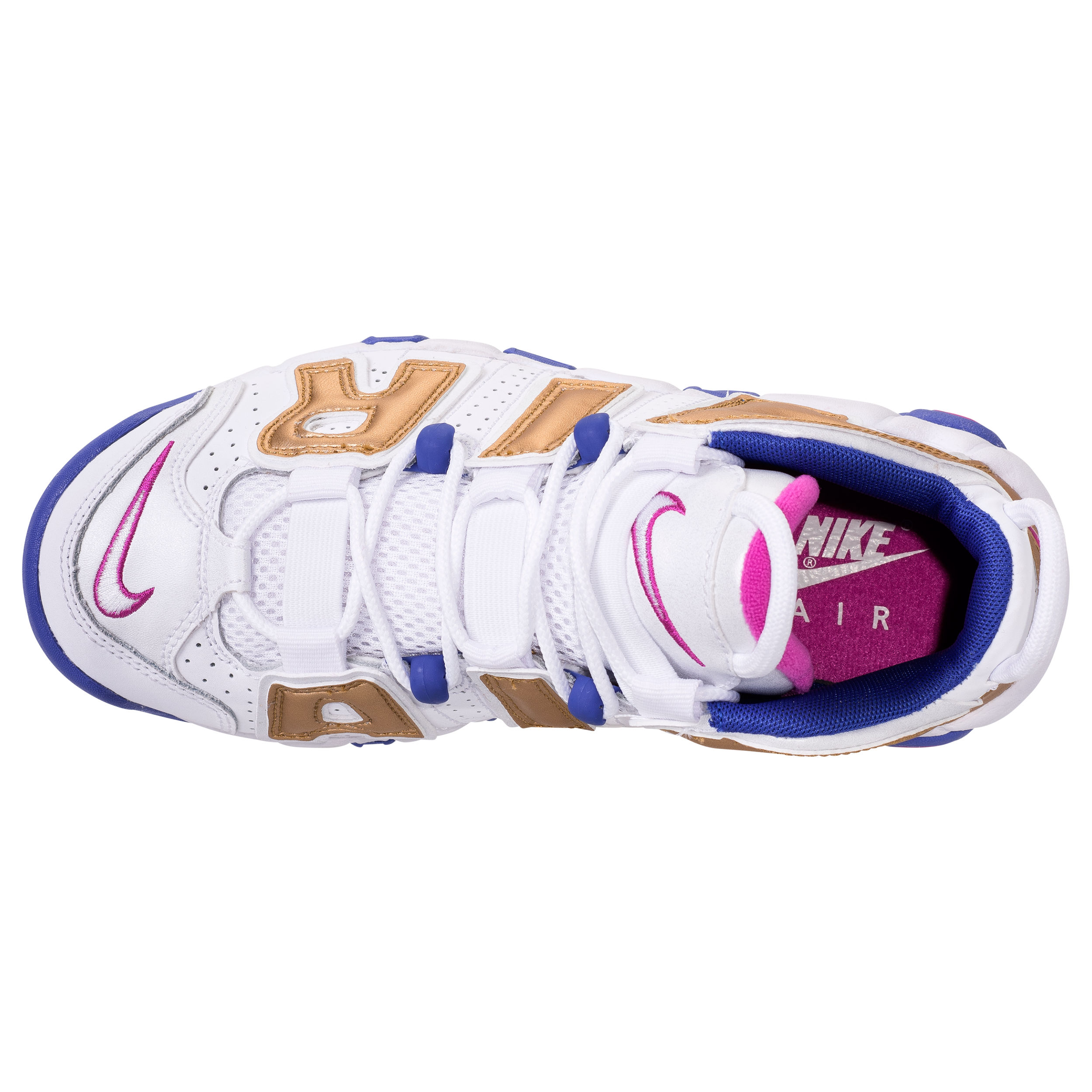NIKE AIR MORE UPTEMPO GS WHITE:FUSCIA BLAST:METALLIC GOLD:RACER BLUE 4