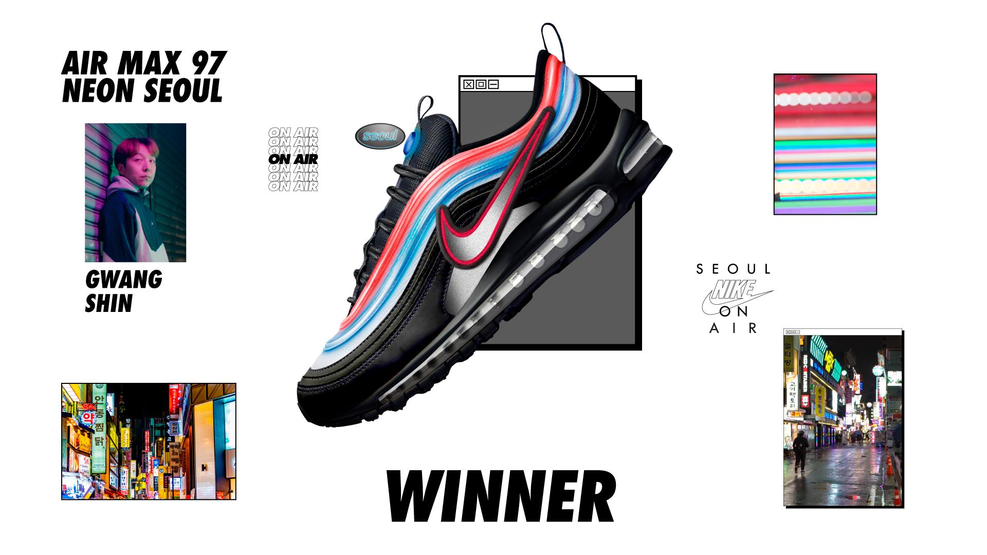 nike on air winners air max 97 neon gwang shin