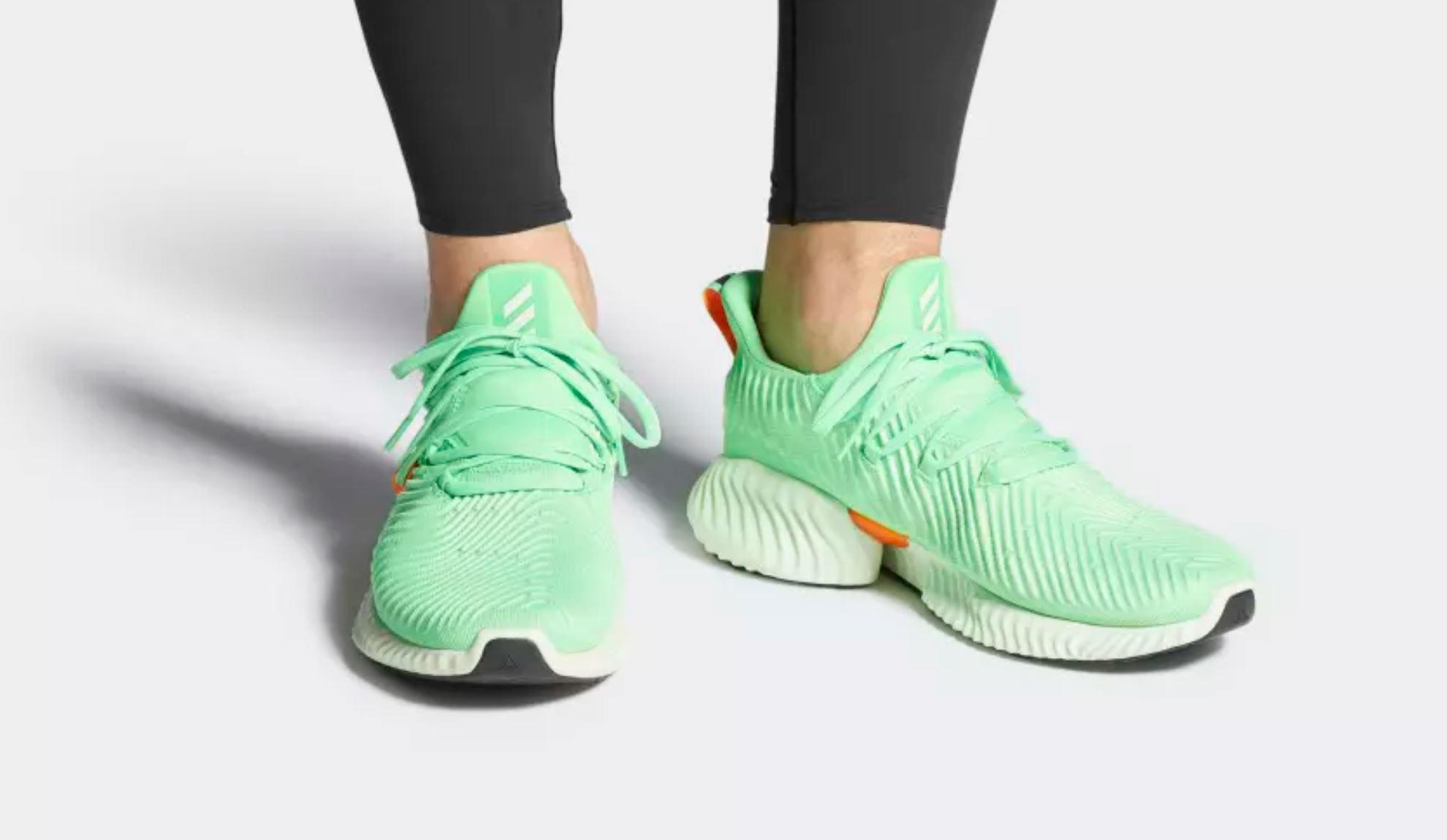 adidas alphabounce instinct shock lime on foot