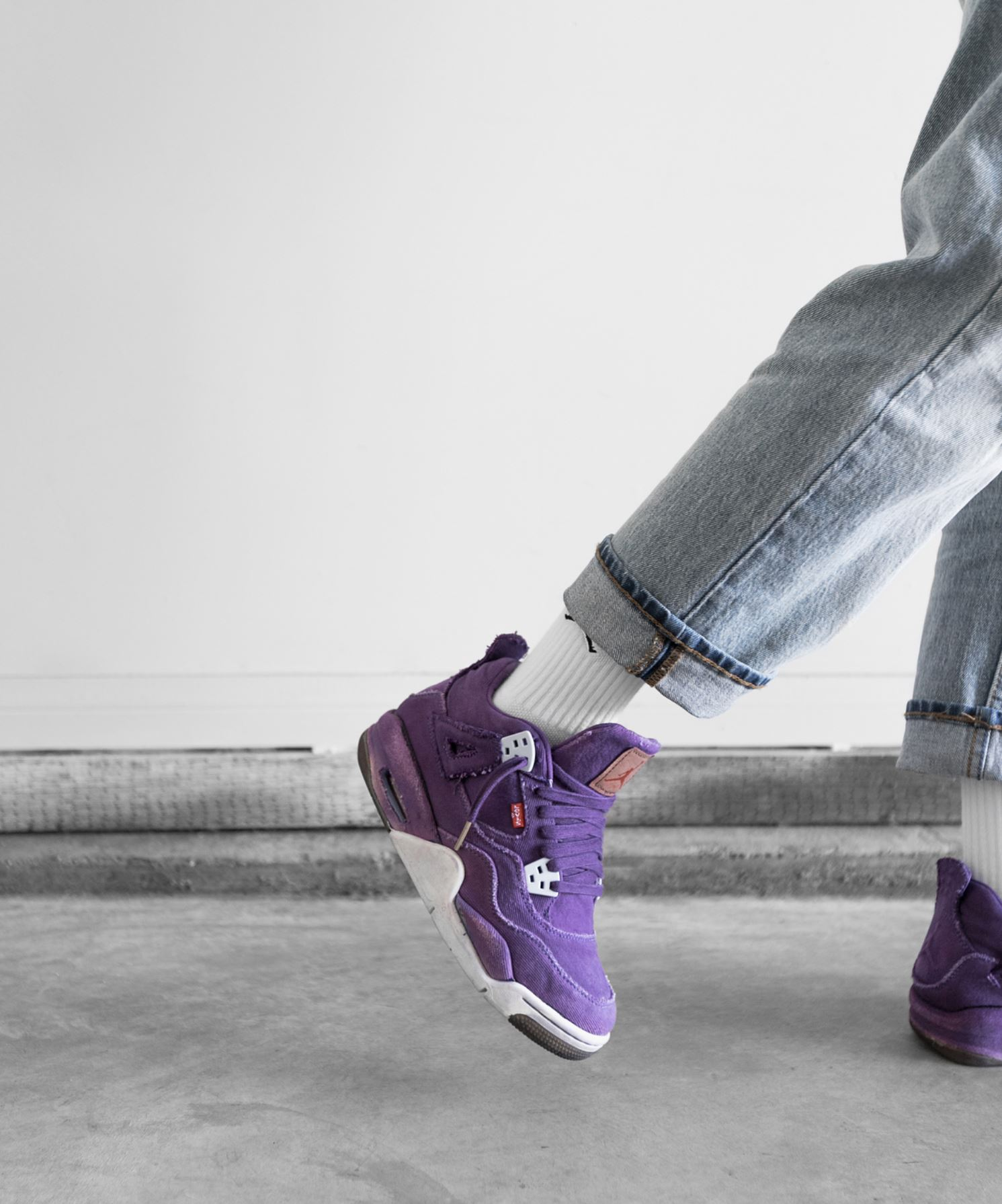 levis air jordan 4 purple custom