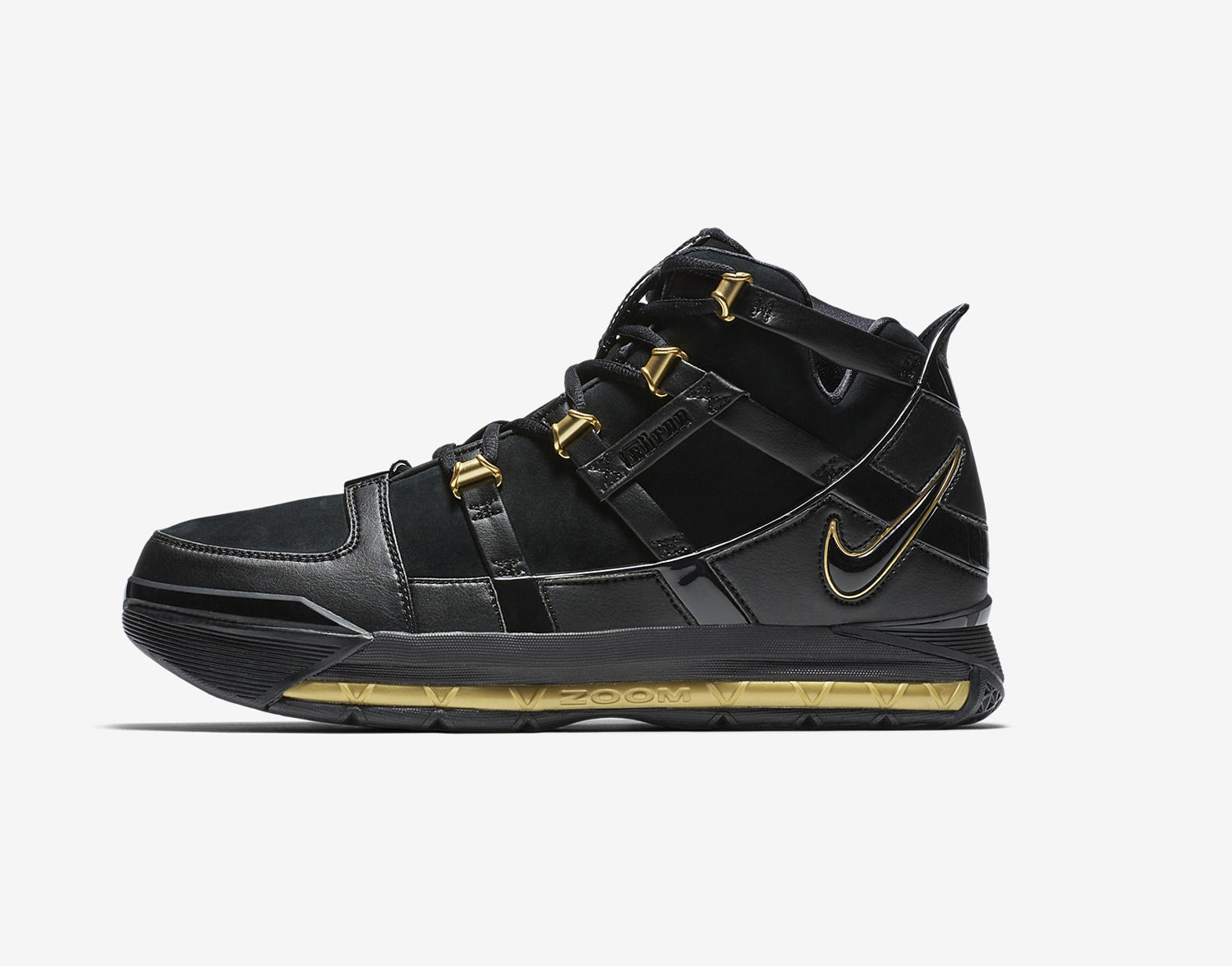The Nike Zoom LeBron 3 in Black/Gold to