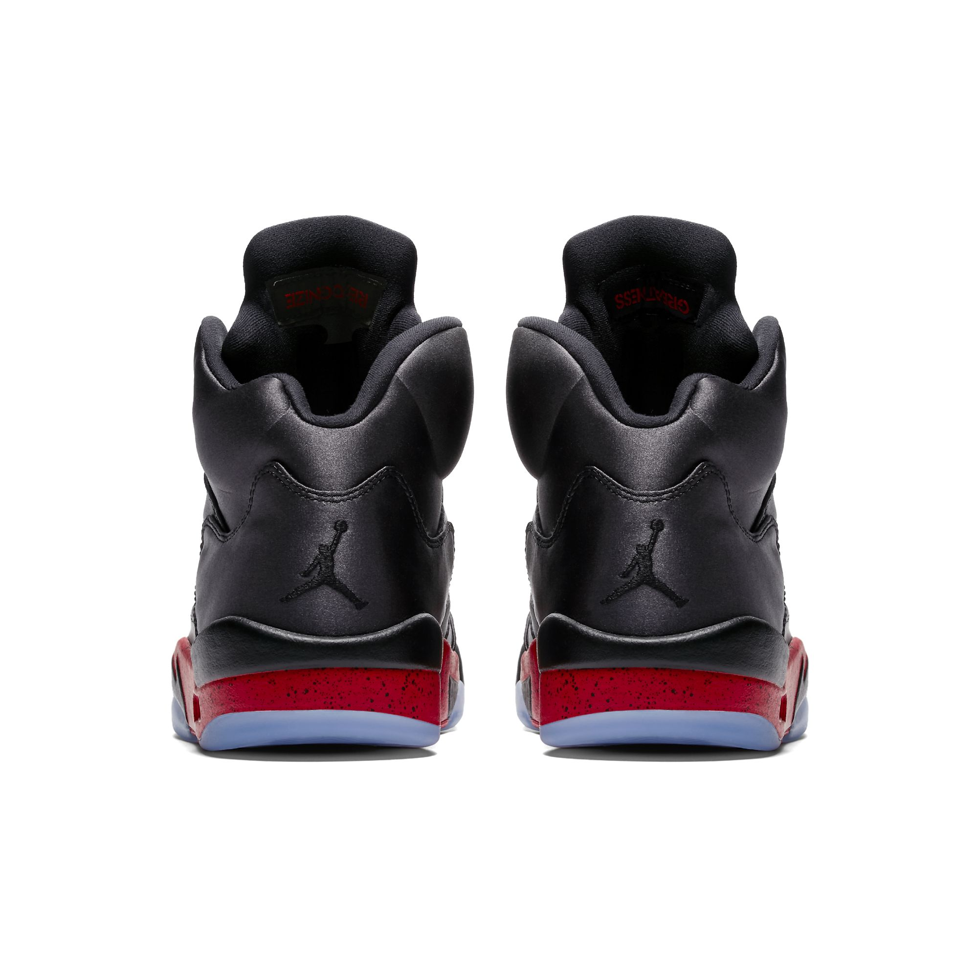 air jordan 5 satin black university red heel