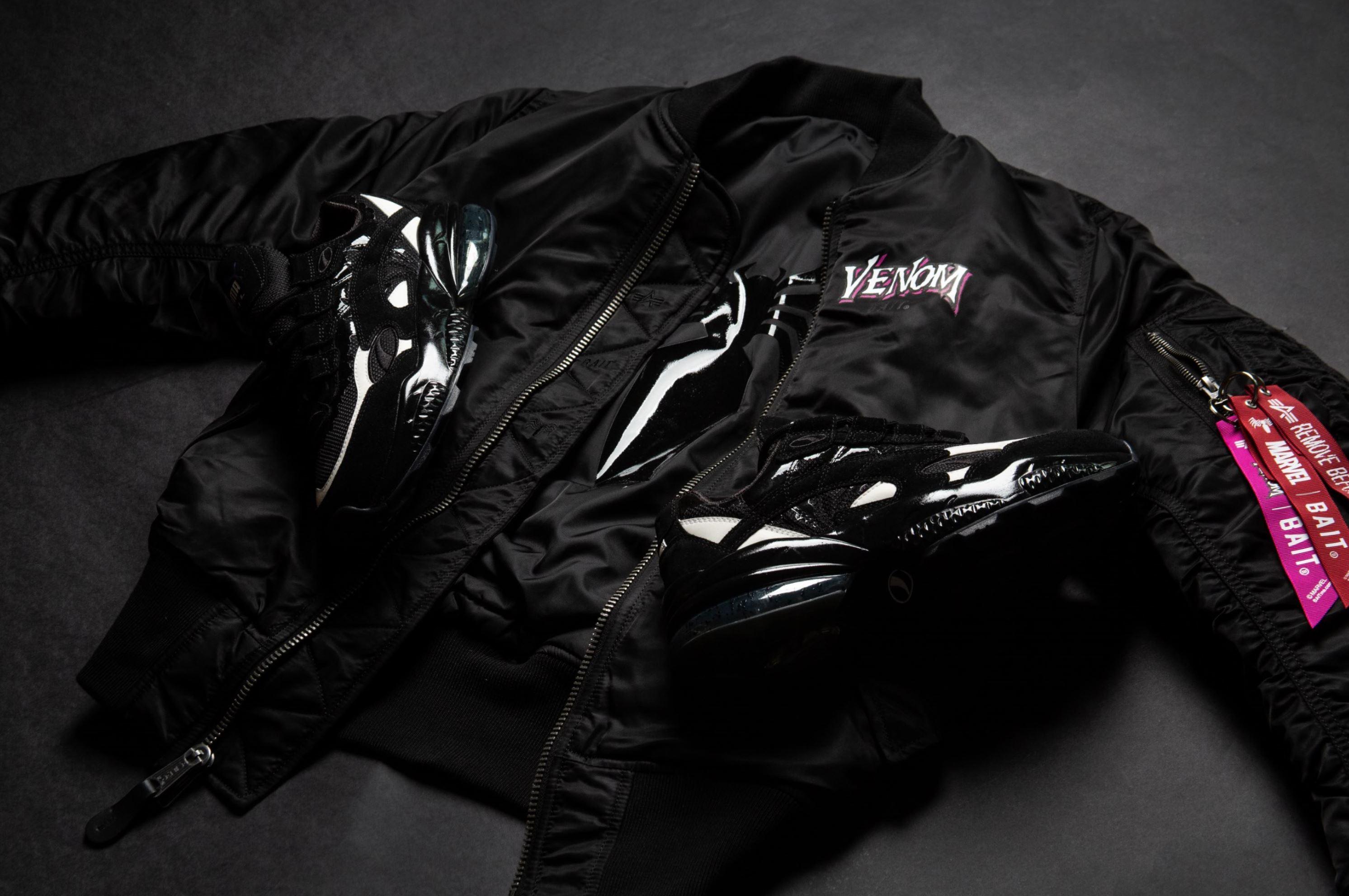 bait marvel venom alpha industries MA-1 reversible jacket