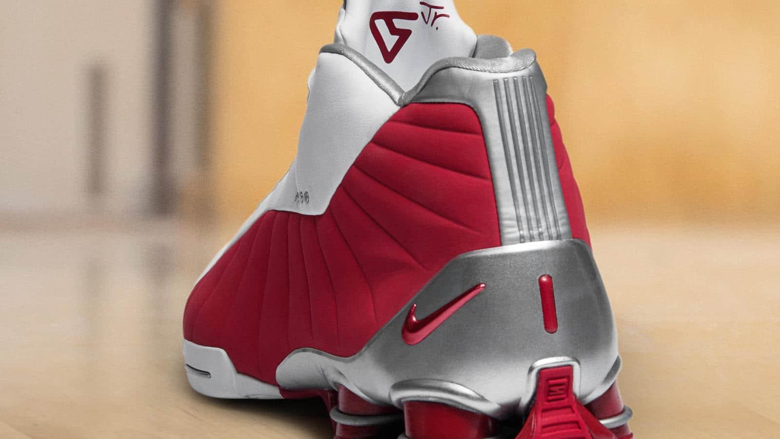 The Nike SHOX BB4 White/Metallic Silver/Varsity Red Has a ...